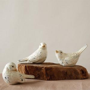 distressed bird figurines set of 3