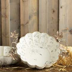 Rustic White Iron and Metal Harvest Decorative Trays, Set of 2