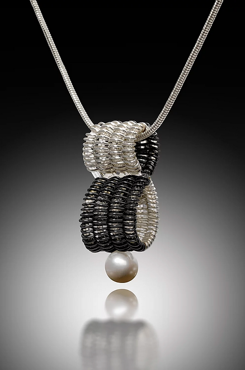 Infinity Pendant with Pearl, Silver & Black