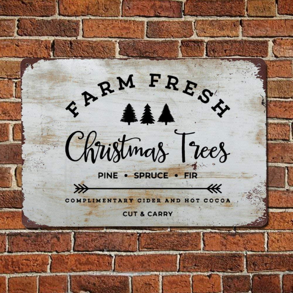 metal weathered christmas tree wall sign