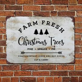 Farm Fresh Christmas Trees Vintage Quotes Metal Sign