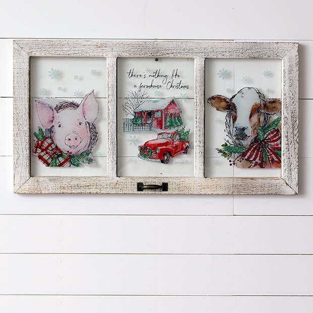 Farmhouse Christmas Window Wall Decor