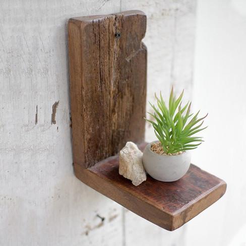 rustic recycled wood wall shelf