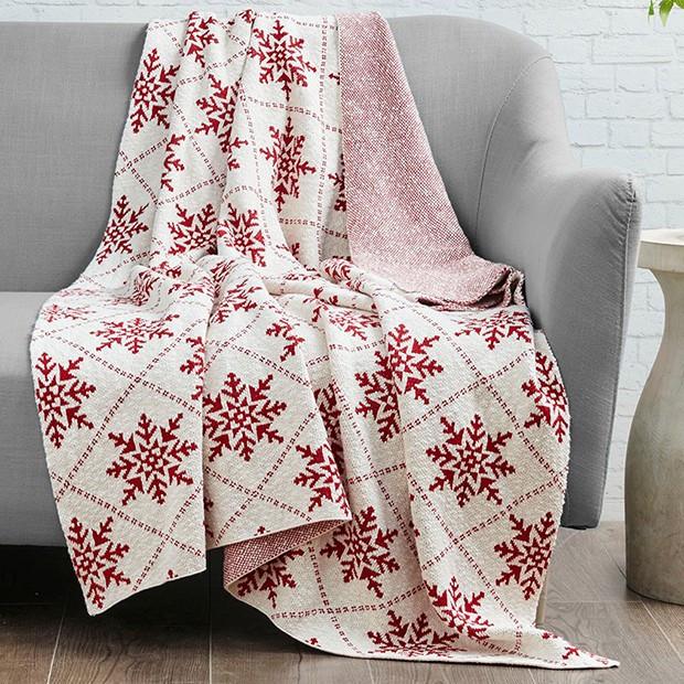cotton knit snowflake throw blanket