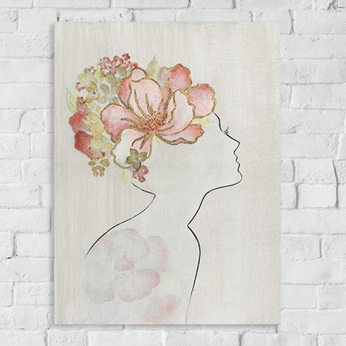 woman silhouette with flowers wall art