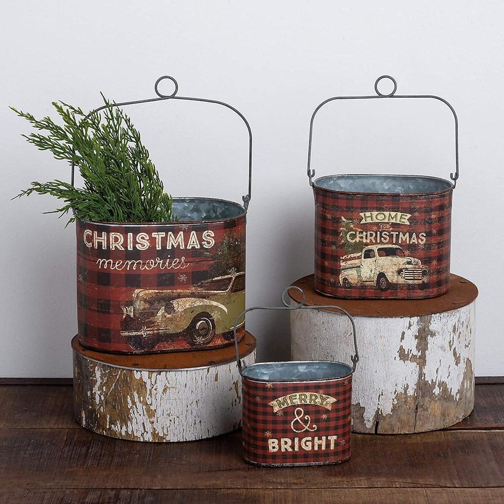 rustic christmas tins