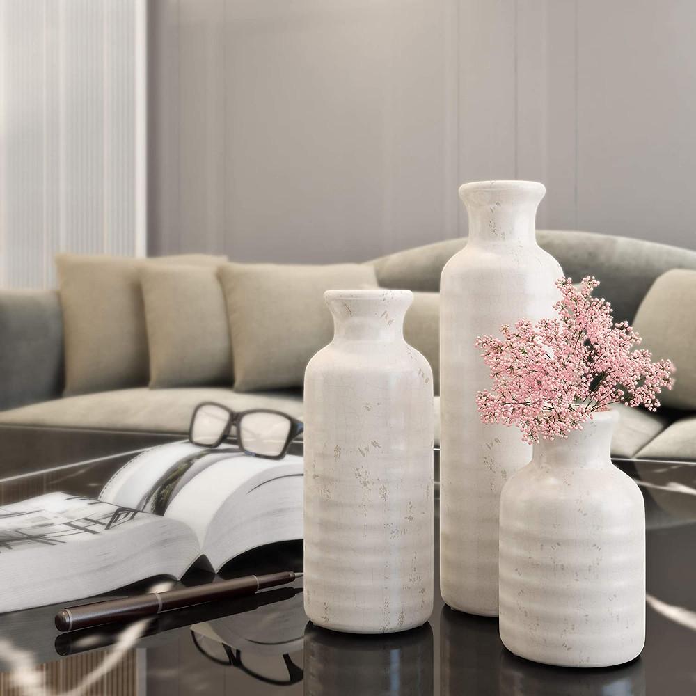 distressed_white_ceramic_vase_set_rustic_home_decor