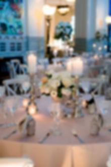 Shedd-Aquarium-wedding-white-centerpiece-silver-candlesticks-Chicago-Illinois