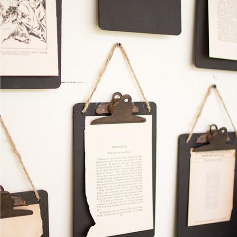 hanging black metal clip boards