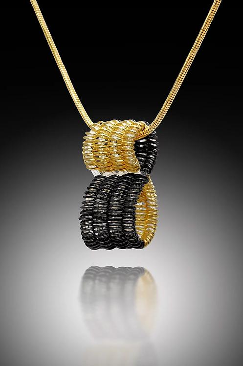 Infinity Pendant, Gold & Black