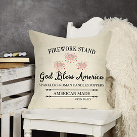 """God Bless America Patriotic Throw Pillow Cover, 18"""" x 18"""""""