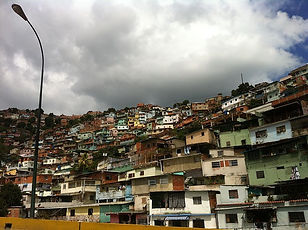 View of dilapidated homes in Caracas