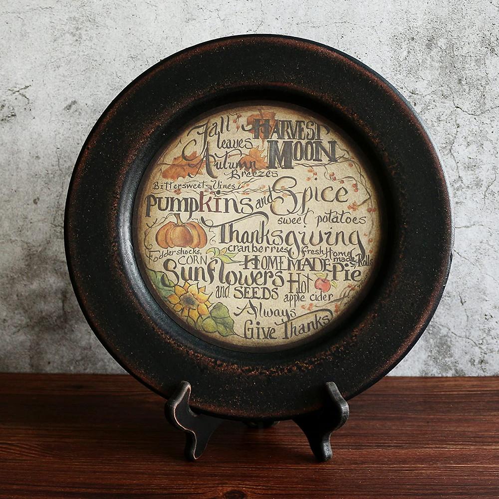 Primitive Vintage Fall Decorative Wood Plate