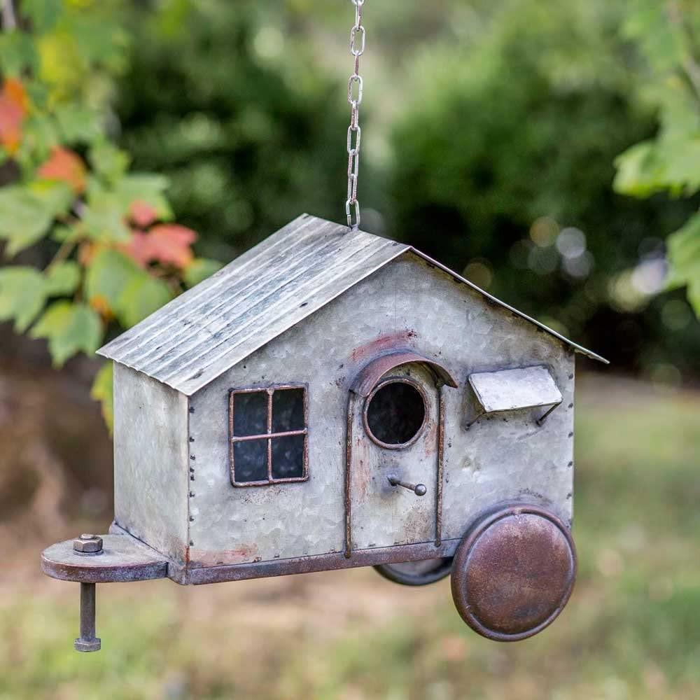 rustic metal birdhouse