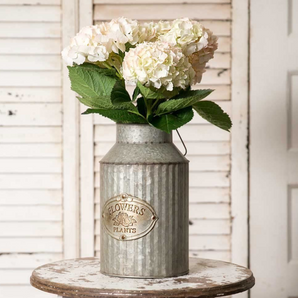 Vintage Industrial Farmhouse Shabby Chic Metal Flowers and Plants Can with Handle