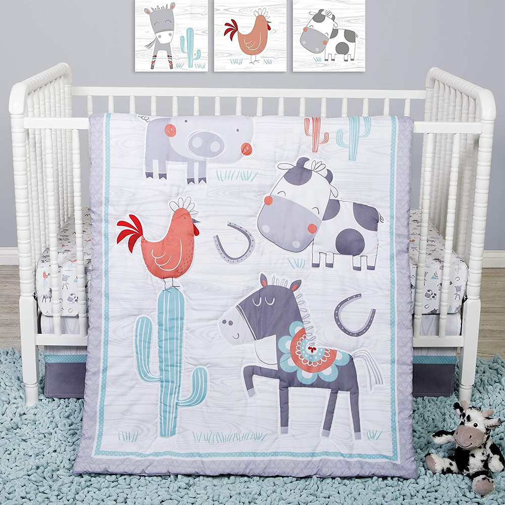 farmhouse crib bedding set - farm animals