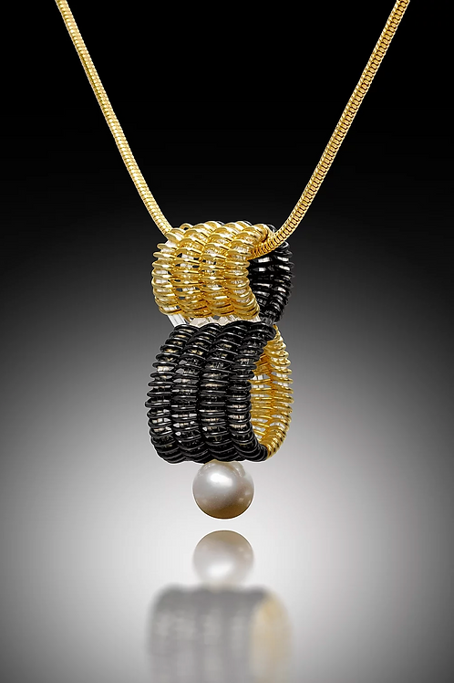 Infinity Pendant with Pearl, Gold & Black