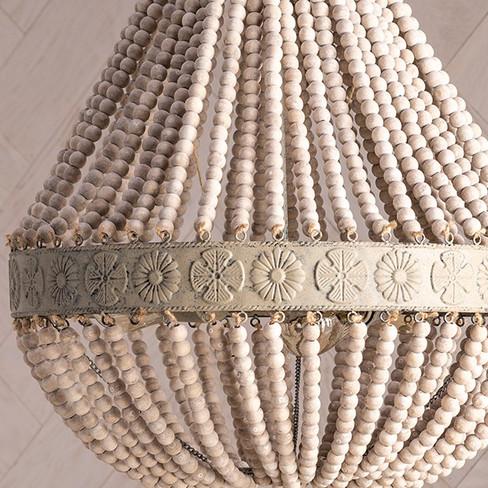wood beaded farmhouse chandelier