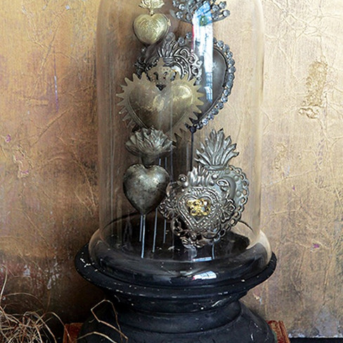 tin sacred heart under glass cloche