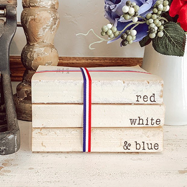patriotic weathered book stack - red white and blue