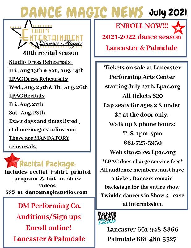 Dance Magic News July 2021