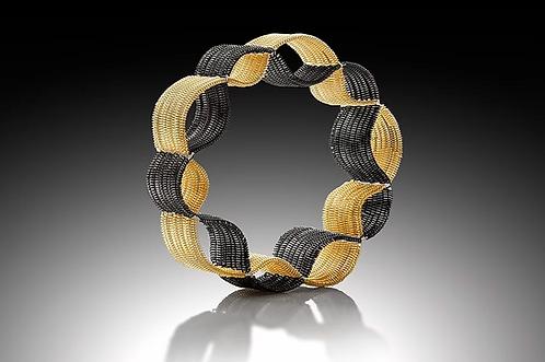 Narrow Silhouette Bangle, Gold & Black