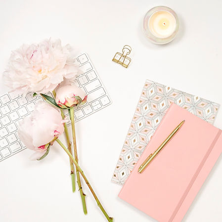 Pink and gold workspace flatlay photos