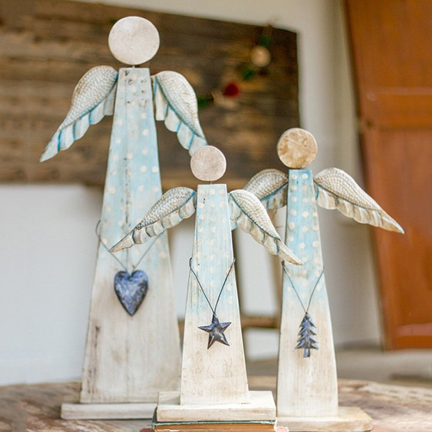 Recycled Wood Tabletop Angel, Set of 3