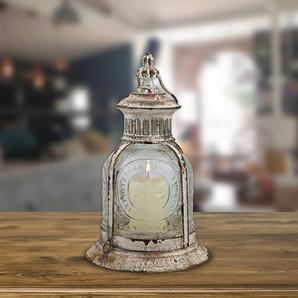 Antique Artisan Style White Metal Candle Lantern