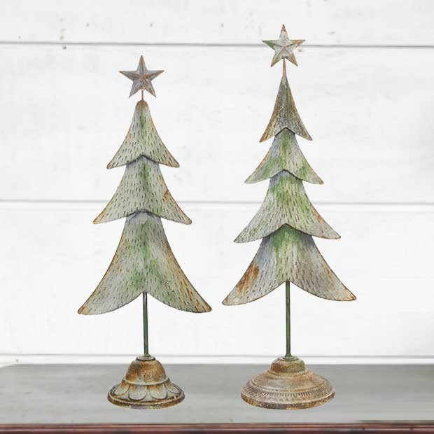 rustic metal christmas tree tabletop decor