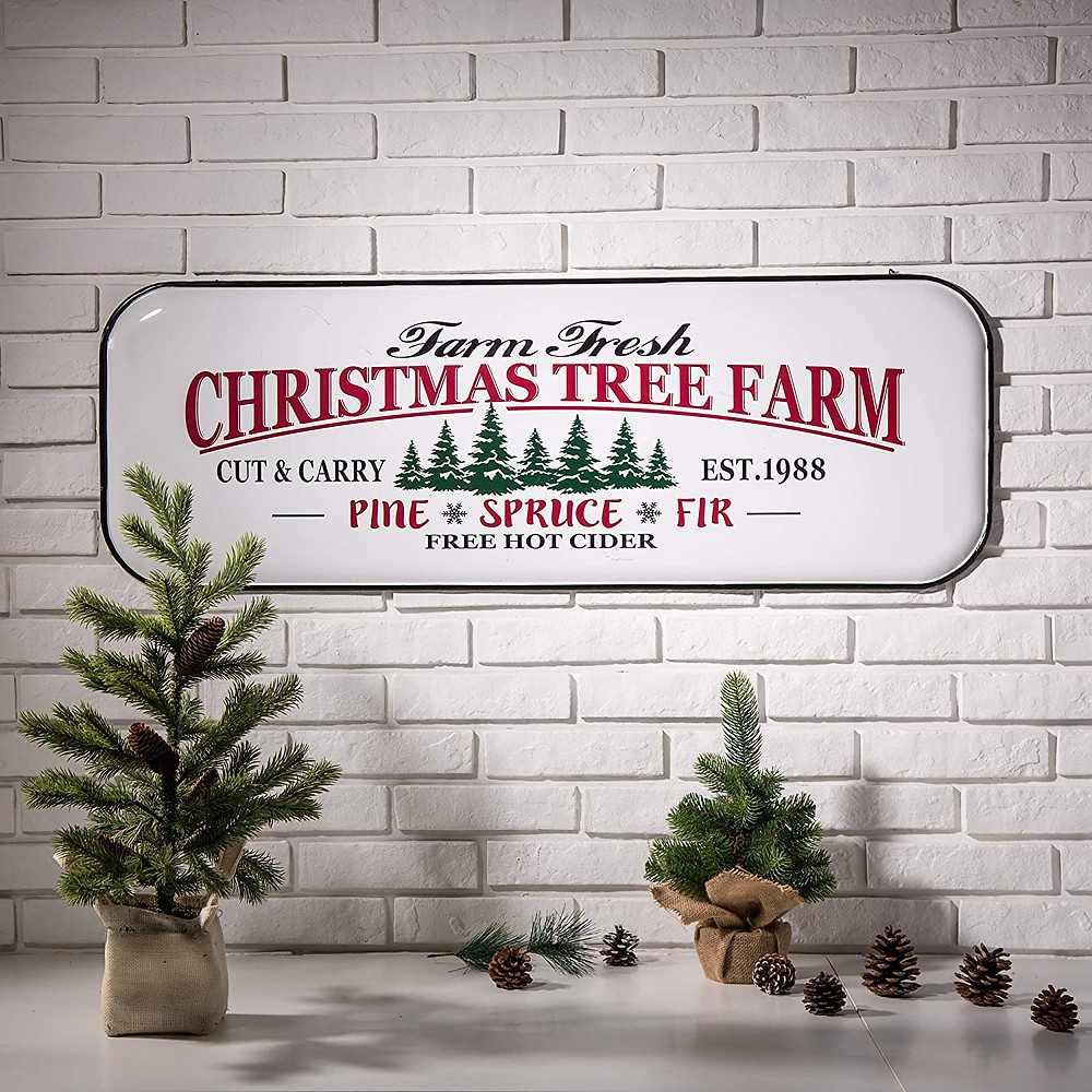 rustic metal christmas tree wall sign