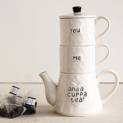 stoneware stackable teapot and mugs