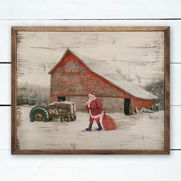 Santa On The Farm Rustic Holiday Wall Decor