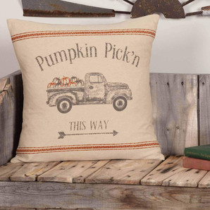 "Autumn Themed Pumpkin Pick'n Pillow Cover, 18"" x 18"""