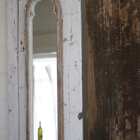 tall arch top wood frame mirror