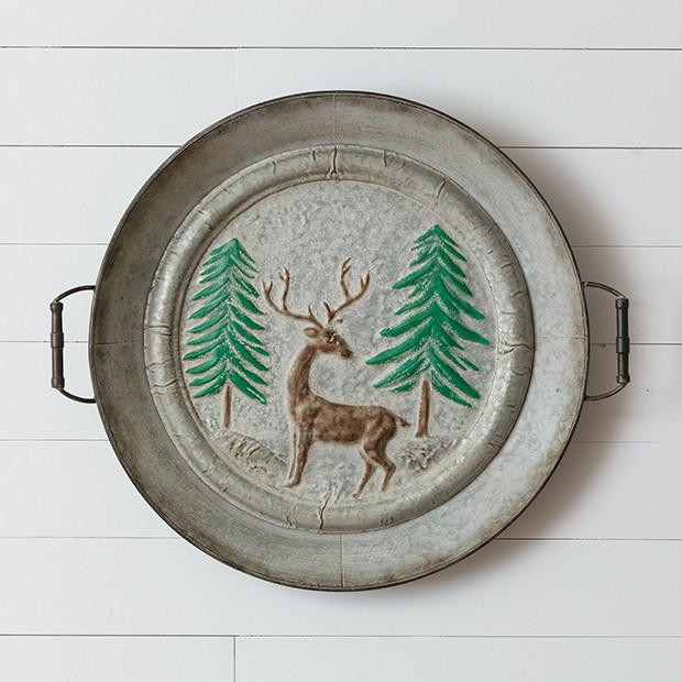 Embossed Tray Deer In Forest Wall Art
