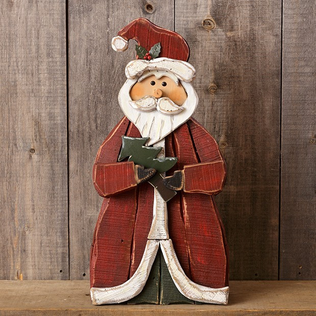 Wooden Santa Holding Tree Figurine