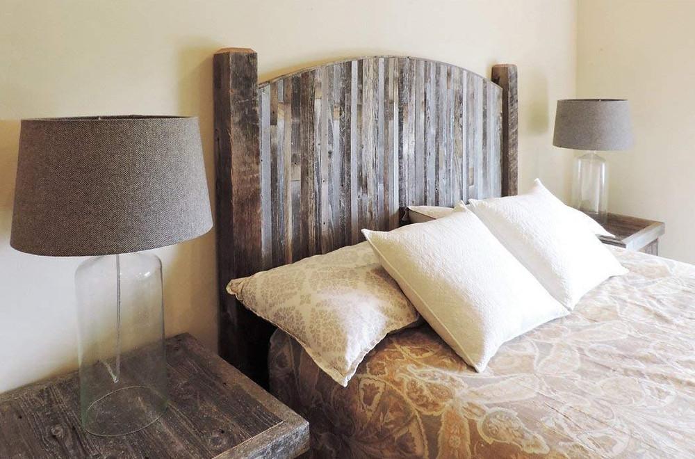 barn wood headboard with weathered slats