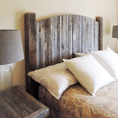 Barn Wood Headboard With Rustic Farmhouse Style Weathered Slats