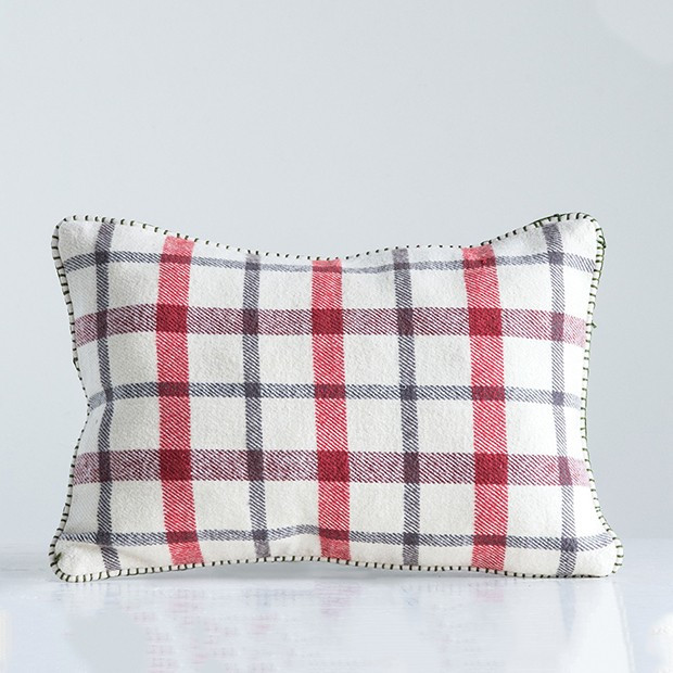 woven plaid accent pillow