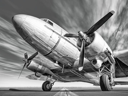 Black and white image of airplane
