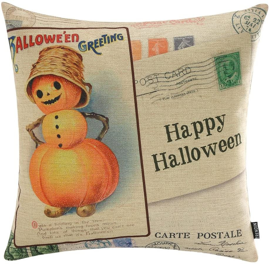 linen vintage halloween pillow cover