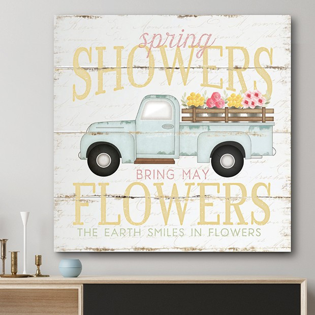 rustic spring wall art with vintage truck