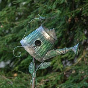 Vintage Green Metal Watering Can Birdhouse Garden Stake