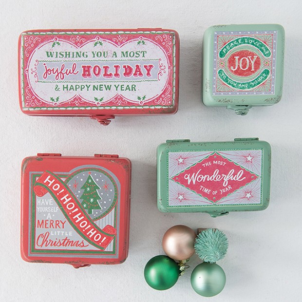 Retro Holiday Metal Boxes, Set of 4