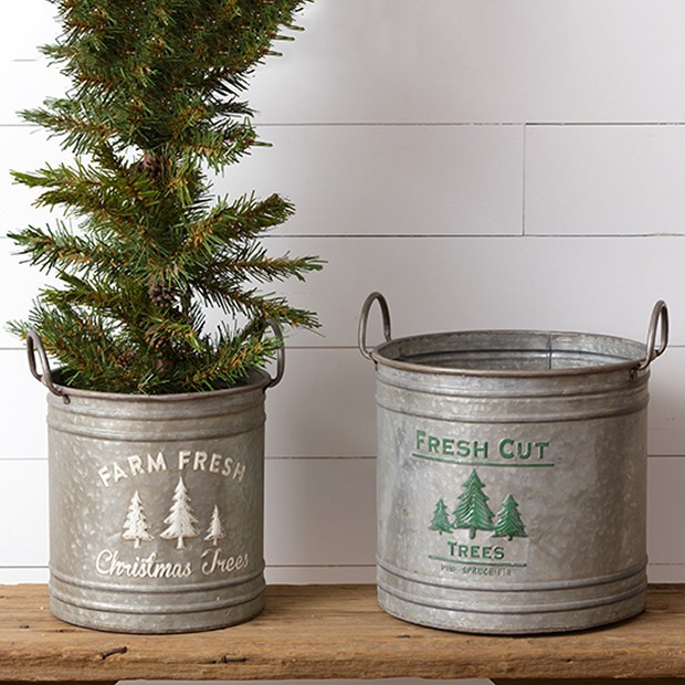 Galvanized Tin Seasonal Bucket Planter, Set of 2