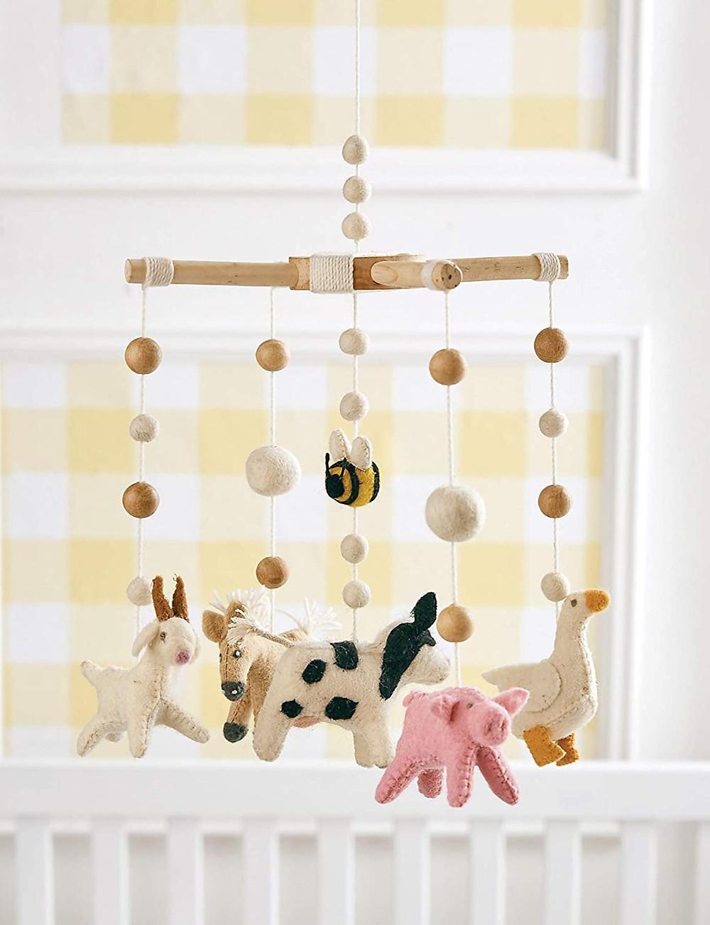 farm animal nursery crib mobile