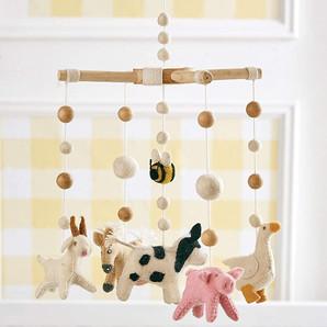 Hand Crafted Nursery Crib Wool Farm Animals Mobile