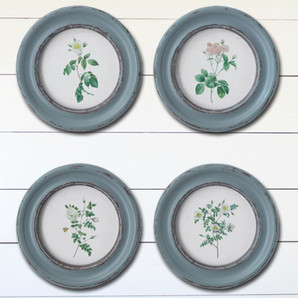 Rustic Framed Round Rose Floral Wall Art, Set of 4