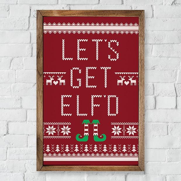 Framed Holiday Farmhouse Elf Sign